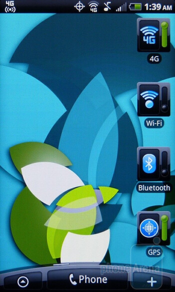 """The HTC EVO Shift 4G has 7 homescreens - HTC's """"Scenes"""" are essentially pre-made themes for your homescreen - HTC EVO Shift 4G Review"""
