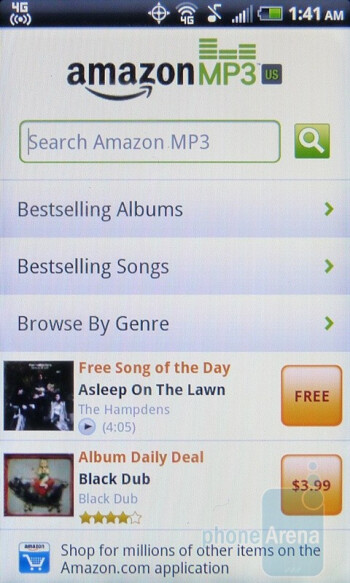 Amazon MP3 - The HTC EVO Shift 4G includes the usual set of Sprint apps - HTC EVO Shift 4G Review