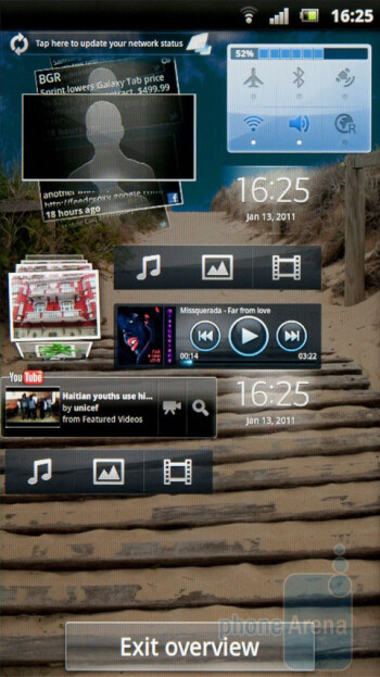 Overview mode - The Timescape function is a card-based system - Sony Ericsson Xperia arc Review