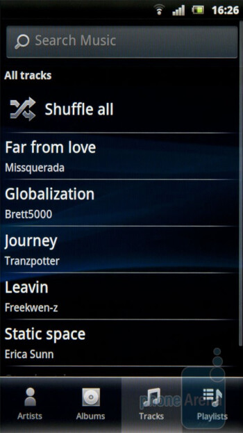 The music player of the Sony Ericsson Xperia arc - Sony Ericsson Xperia arc Review