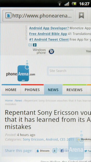 The stock Android 2.3 browser - Sony Ericsson Xperia arc Review