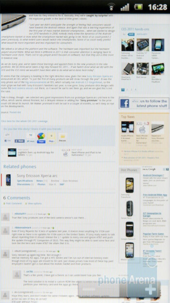 The stock Android 2.3 browser is an excellent mobile solution - Sony Ericsson Xperia arc Preview