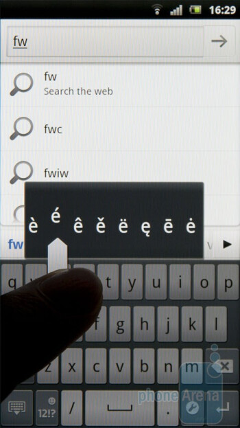Typing on the big screen with the new and improved Gingerbread keyboard is a joy - Sony Ericsson Xperia arc Preview