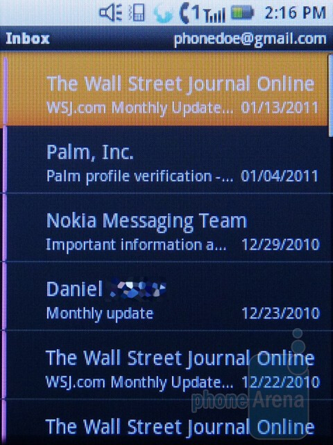 The email app - The Motorola i886 uses the stock Android messaging app - Motorola i886 Review