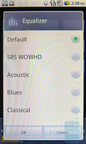 The stock Android music player of the Huawei IDEOS X5 offersa variety of equalizer options - Huawei IDEOS X5 Preview