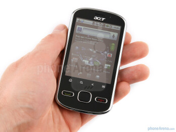 When you hold the Acer beTouch E140, it feels quite compact - Acer beTouch E140 Review