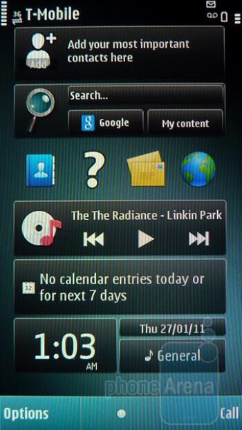 Homescreen - Interface of the Nokia E7 - Nokia E7 Preview