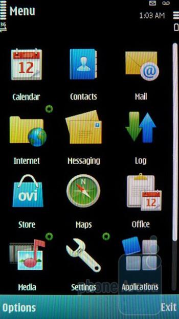 Main menu - Interface of the Nokia E7 - Nokia E7 Preview