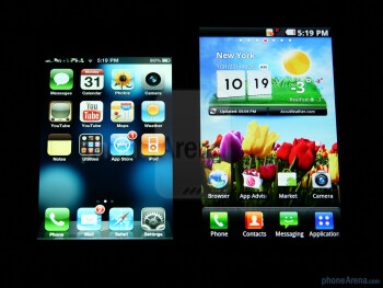 Viewing angles of the LG Optimus 2X (right) and the Apple iPhone 4 (left) - LG Optimus 2X Review