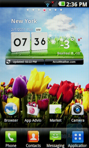 The interface of the LG Optimus 2X - Nokia E7 vs LG Optimus 2X vs Apple iPhone 4