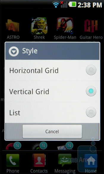 You can change the main menu styles - LG Optimus 2X Review