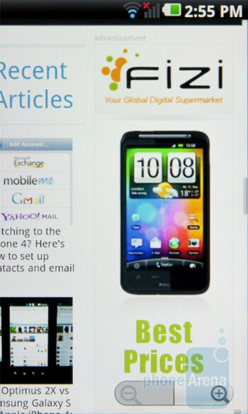 The browser on the LG Optimus 2X  executes both JavaScript and Adobe Flash elements very quickly - Nokia E7 vs LG Optimus 2X vs Apple iPhone 4