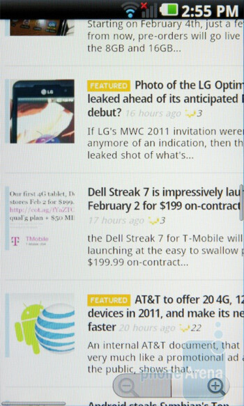 The browser of the LG Optimus 2X renders heavy Flash pages without much stuttering  - LG Optimus 2X vs Apple iPhone 4