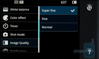 Camera  interface of the LG Optimus 2X - LG Optimus 2X vs Apple iPhone 4