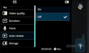 The camcorder interface - LG Optimus 2X Review