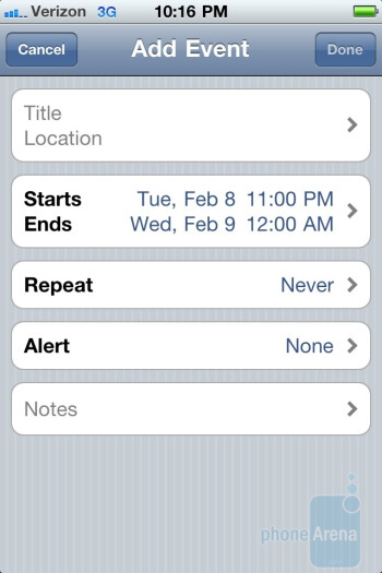 The calendar of the Verizon iPhone 4 has three views by which to see all of the events - Verizon iPhone 4 Review