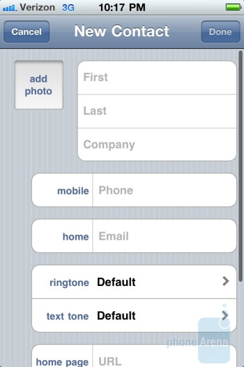 Dialpad and phonebook of the Verizon iPhone 4 - Verizon iPhone 4 Review