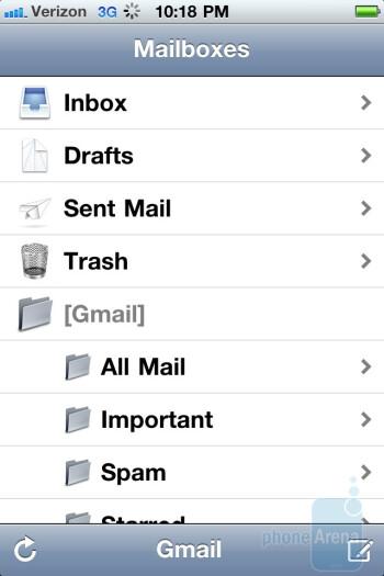 Email on the Verizon iPhone 4 - Verizon iPhone 4 vs DROID 2 Global