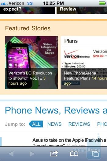 Safari mobile browser - Verizon iPhone 4 vs DROID 2 Global