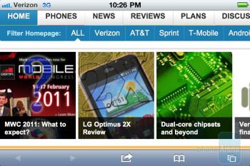 Safari mobile browser - Verizon iPhone 4 Review