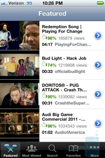 The YouTube app - Verizon iPhone 4 Review