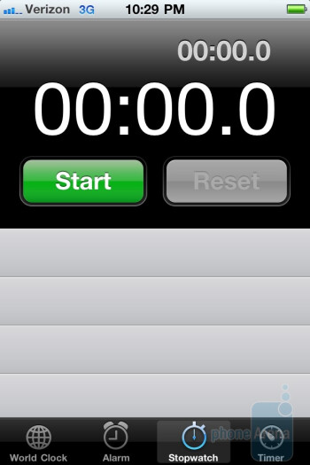 The alarm clock is accessed by going through the clock shortcut - Verizon iPhone 4 Review