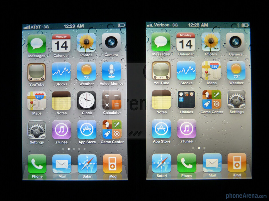 Viewing angles of the AT&T iPhone 4 (Left) and the Verizon iPhone 4 (Right) - Verizon iPhone 4 vs AT&T iPhone 4