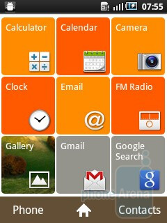 Main menu - The interface of the Samsung GALAXY mini - Samsung GALAXY mini Preview