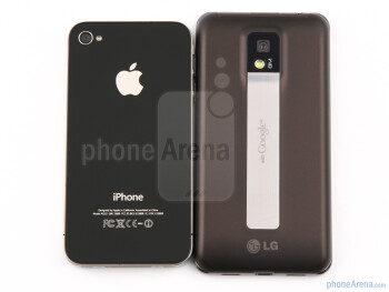 The backs of the Apple iPhone 4 (left) and the LG Optimus 2X (right) - LG Optimus 2X vs Apple iPhone 4
