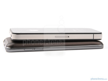 The sides of the Apple iPhone 4 (top) and the LG Optimus 2X (bottom) - LG Optimus 2X vs Apple iPhone 4