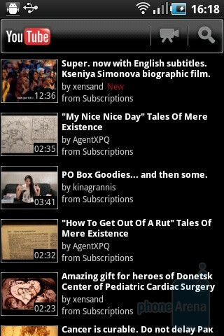 The YouTube app - Samsung GALAXY Ace Preview