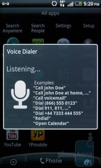 Voice dialer - HTC Inspire 4G Review