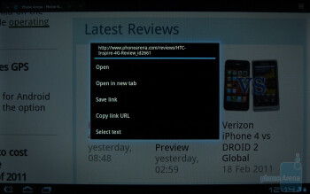 The Android browser of the Motorola XOOM - Motorola XOOM vs Apple iPad