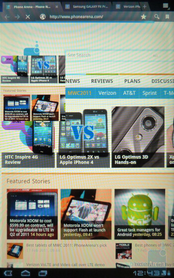 The web browser in portrait mode - Motorola XOOM Review