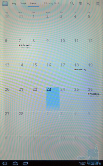 The calendar of the Motorola XOOM - Motorola XOOM vs Apple iPad