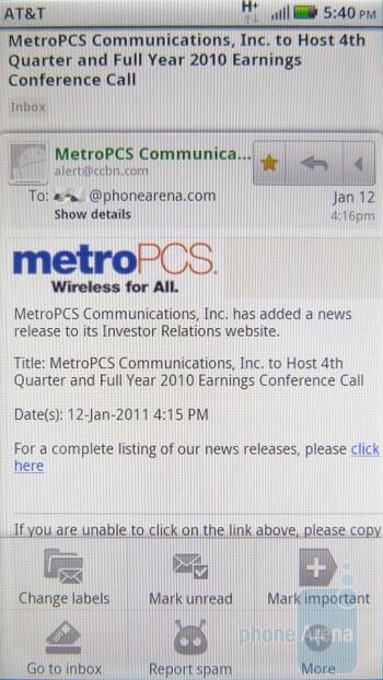 The Gmail app - Motorola ATRIX 4G Review