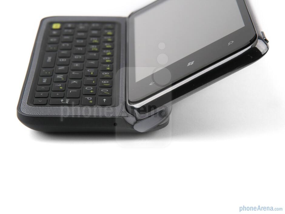 The phone has a tilt mechanism - HTC 7 Pro Review