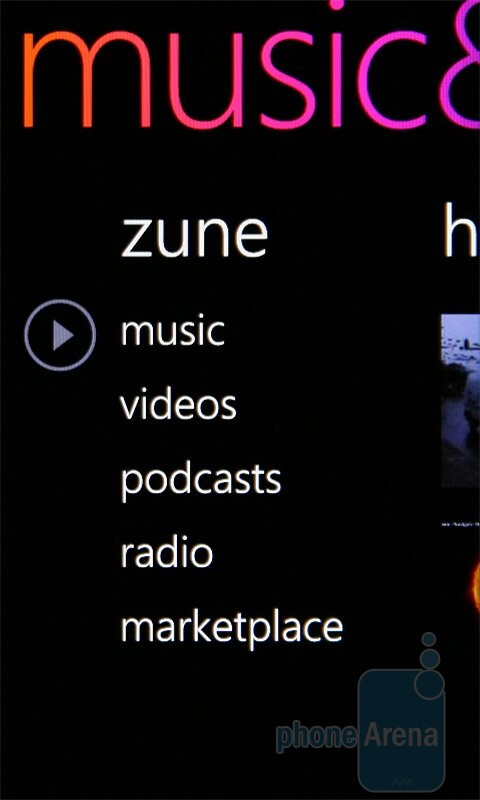 The media menu - HTC 7 Pro Review