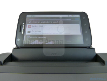 The Motorola ATRIX 4G mounted on the Laptop Dock - Motorola ATRIX 4G Laptop Dock Review