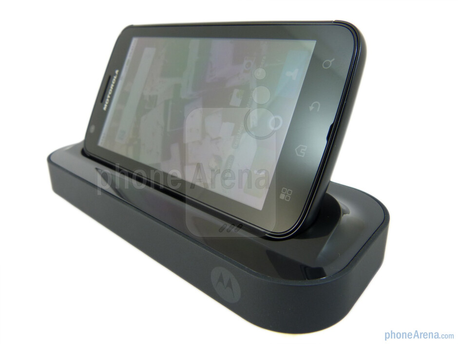 The Motorola ATRIX 4G mounted on its HD Multimedia Dock - Motorola ATRIX 4G HD Multimedia Dock Review