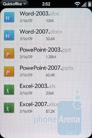 QuickOffice - Software on Verizon's Palm Pre 2 - Verizon Pre 2 Review