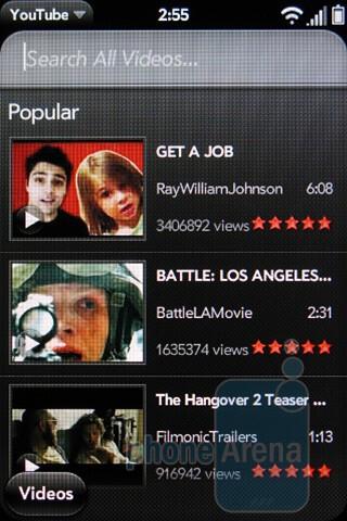YouTube player - Software on Verizon's Palm Pre 2 - Verizon Pre 2 Review