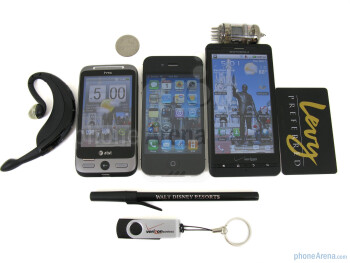 HTC Freestyle (L), Apple iPhone 4 (C), Motorola Droid X (R) - HTC Freestyle Review
