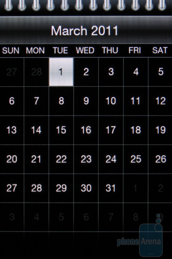 The calendar of the HTC Freestyle - HTC Freestyle Review