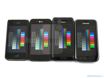 Brightness and viewing angles of the Apple iPhone 4, LG Optimus Black, Nokia E7, Samsung Galaxy S - LG Optimus Black Preview