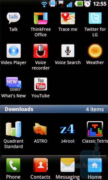 The Optimus UI of the LG Optimus Black presents homescreen edit modewith a pull-up menu and a screen grid - LG Optimus Black Preview