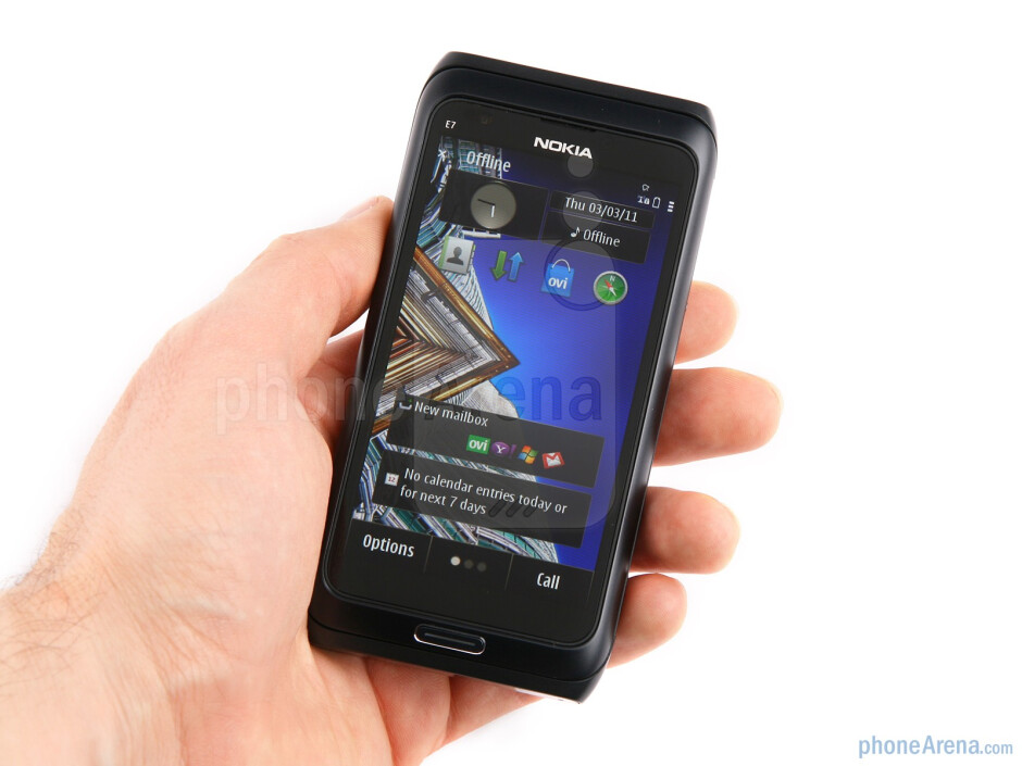 The Nokia E7 packs a landscape keyboard to its sleek anodized aluminum casing - Nokia E7 Review