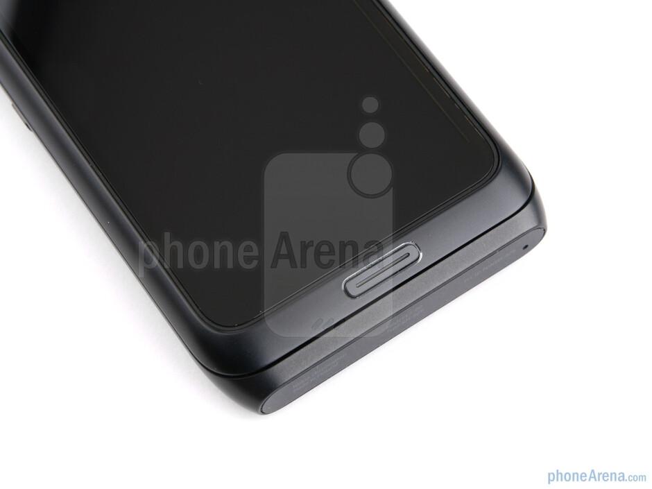 "Menu button beneath the display - The Nokia E7 has a 4"" AMOLED ClearBlack Display - Nokia E7 Review"