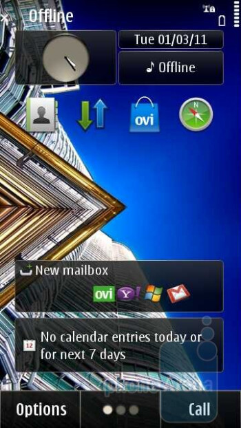 The three homescreens can be populated with up to six rectangular widgets - The Symbian^3 interface on the Nokia E7 - Nokia E7 Review