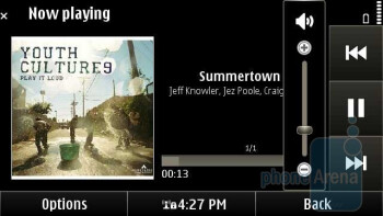 The music player of the Nokia E7 in landscape mode - Nokia E7 Review